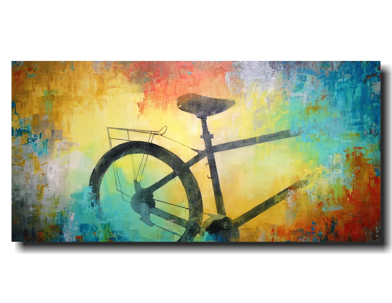 Large abstract bicycle painting industrial wall decor Artwork 24 X ...
