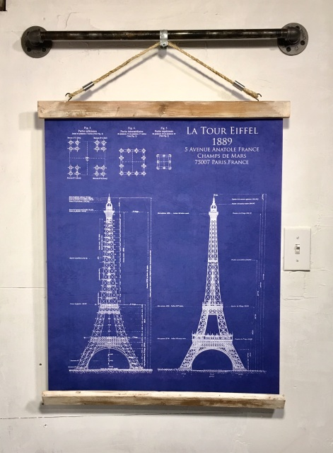 Wood signs wooden signs industrial pipe rustic wall decor wood signs wooden signs industrial pipe rustic wall decor eiffel tower blueprintart printwall hanging blue canvas print malvernweather Images